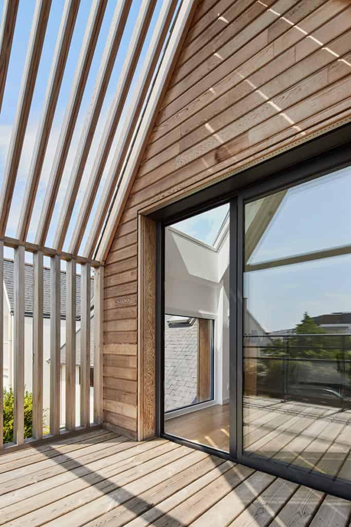 terrasse de l'extension bois à Rennes