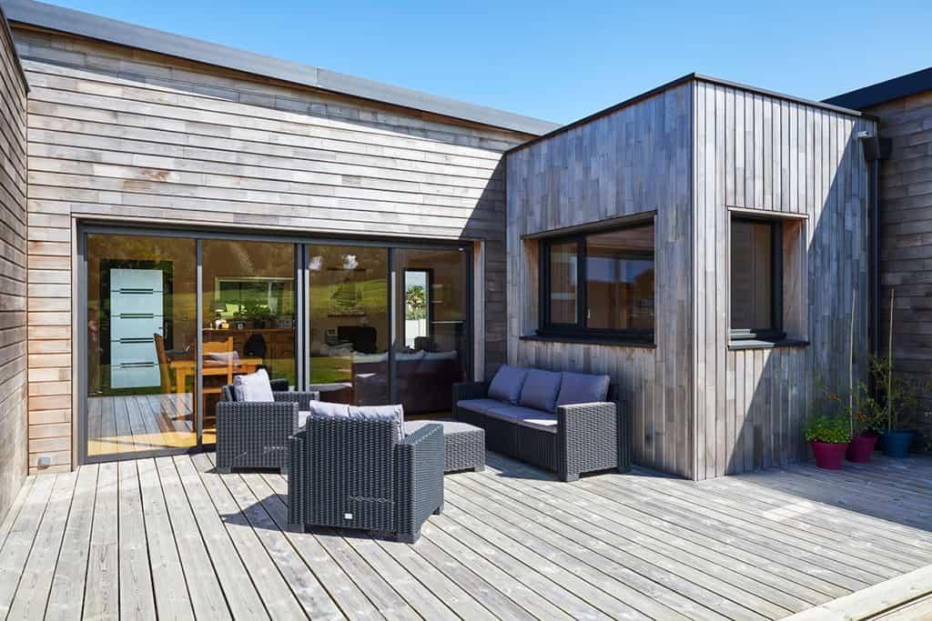 coin salon extérieur de la terrasse bois