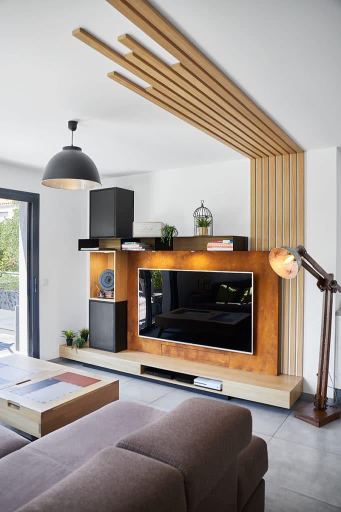 Vue d'ensemble du projet de meuble TV inspiration design industriel