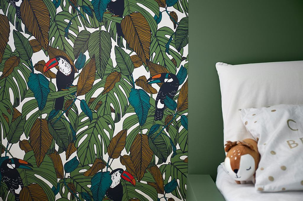 détail du papier peint jungle